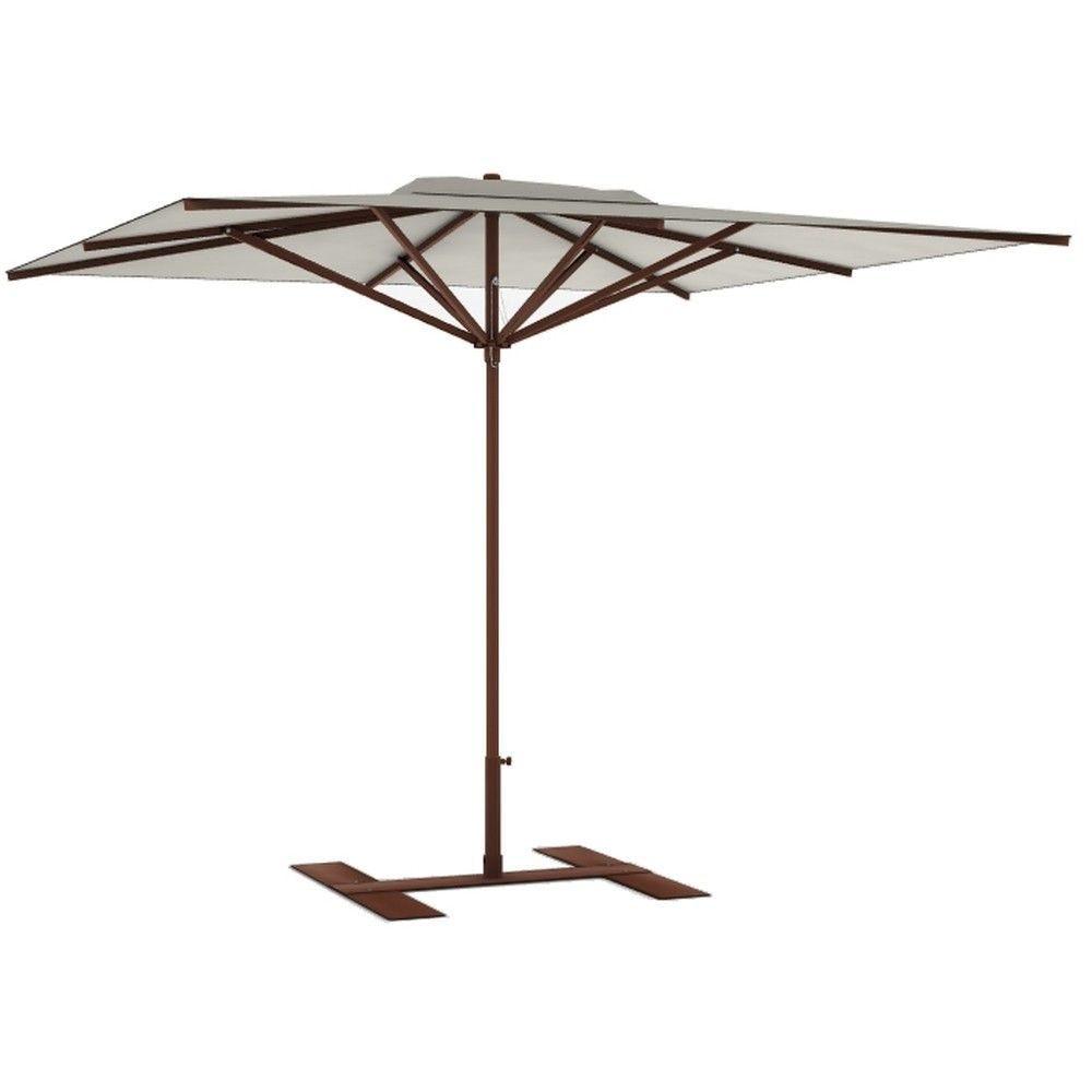 Parasol terrasse Privilège grège 3x3 m montant marron