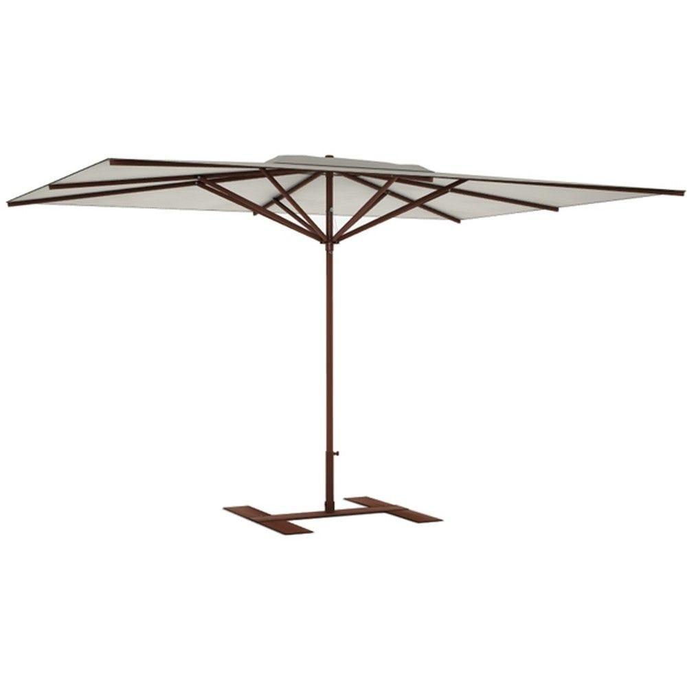 Parasol terrasse Privilège grège 4x3 m montant marron