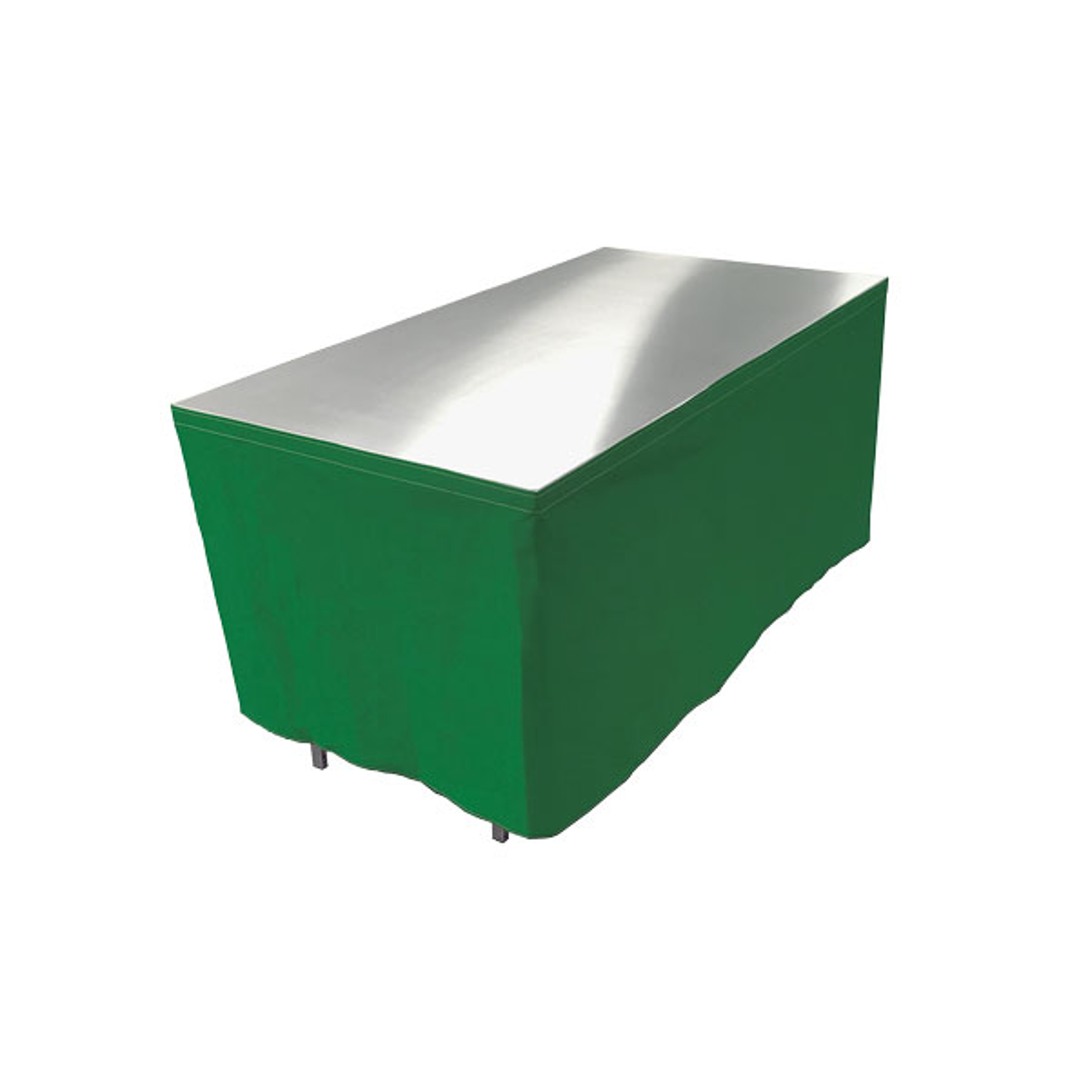 Table en aluminium 150x85cm. + habillage vert