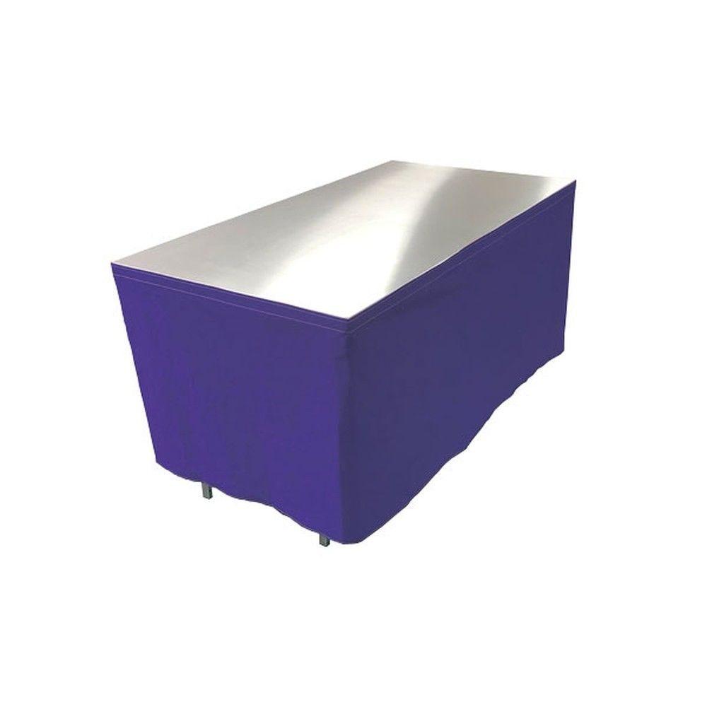 Table en aluminium 150x85cm. + habillage bleu