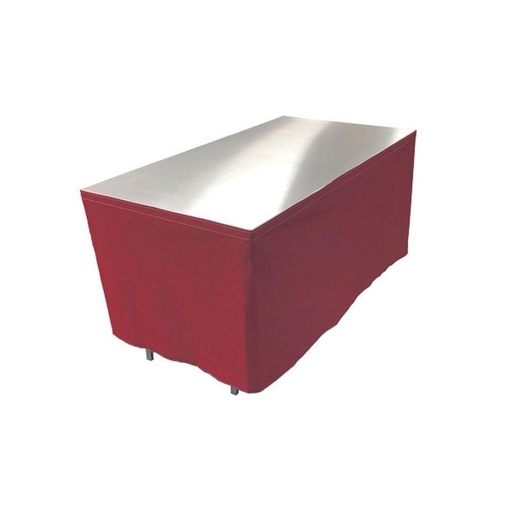 Table en aluminium 150x85cm. + habillage rouge