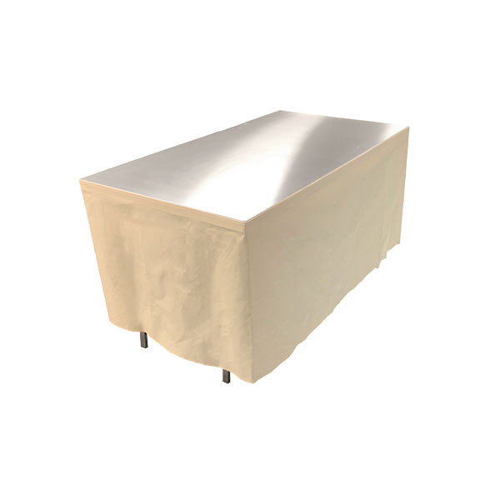 Table en aluminium 150x85cm. + habillage ivoire