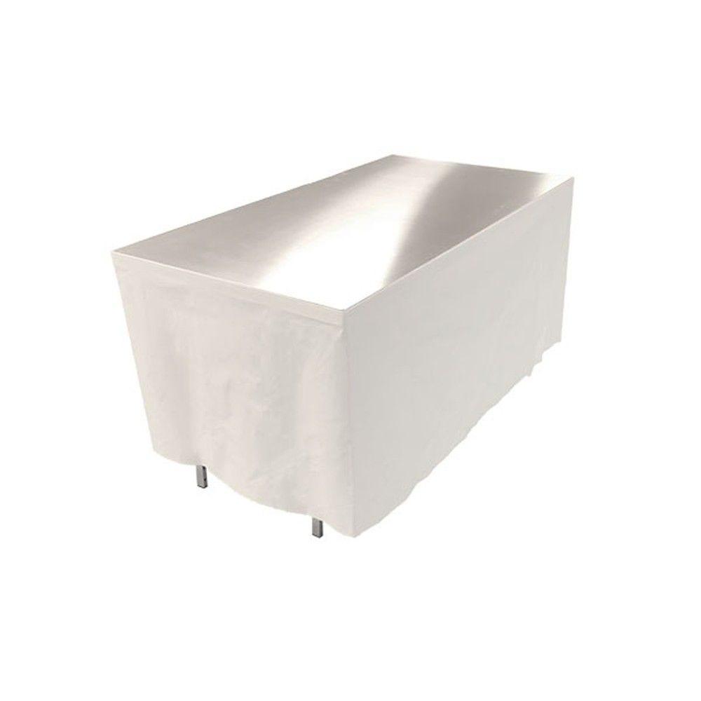 Table en aluminium  150x85cm. + habillage blanc