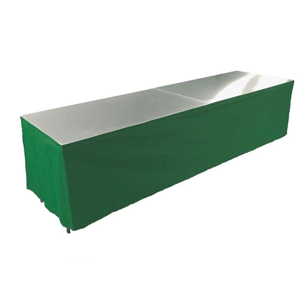Tables en aluminium 300x85cm. + habillage vert