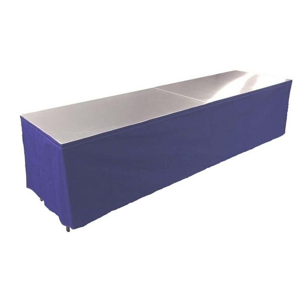 Tables en aluminium 300x85cm. + habillage bleu