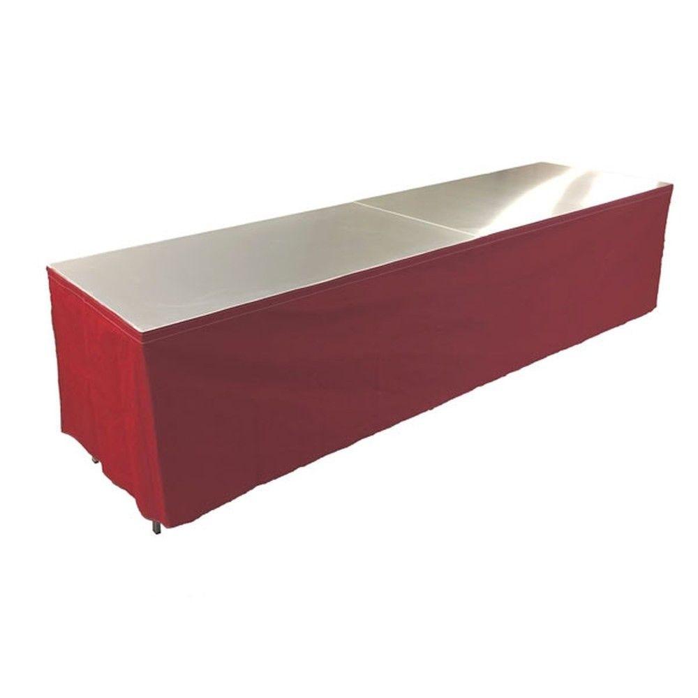 Tables en aluminium 300x85cm. + habillage rouge