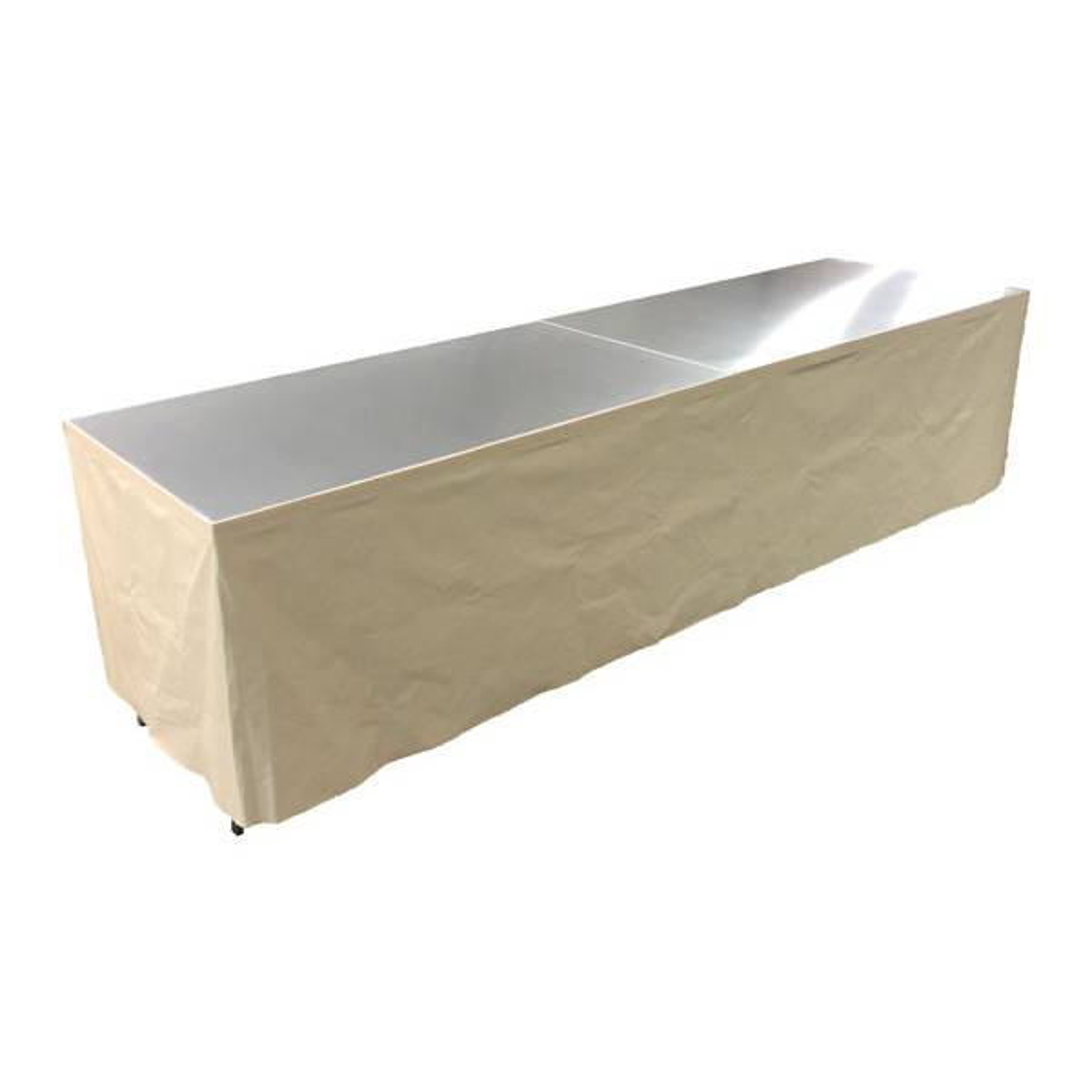 Tables en aluminium 300x85cm. + habillage ivoire