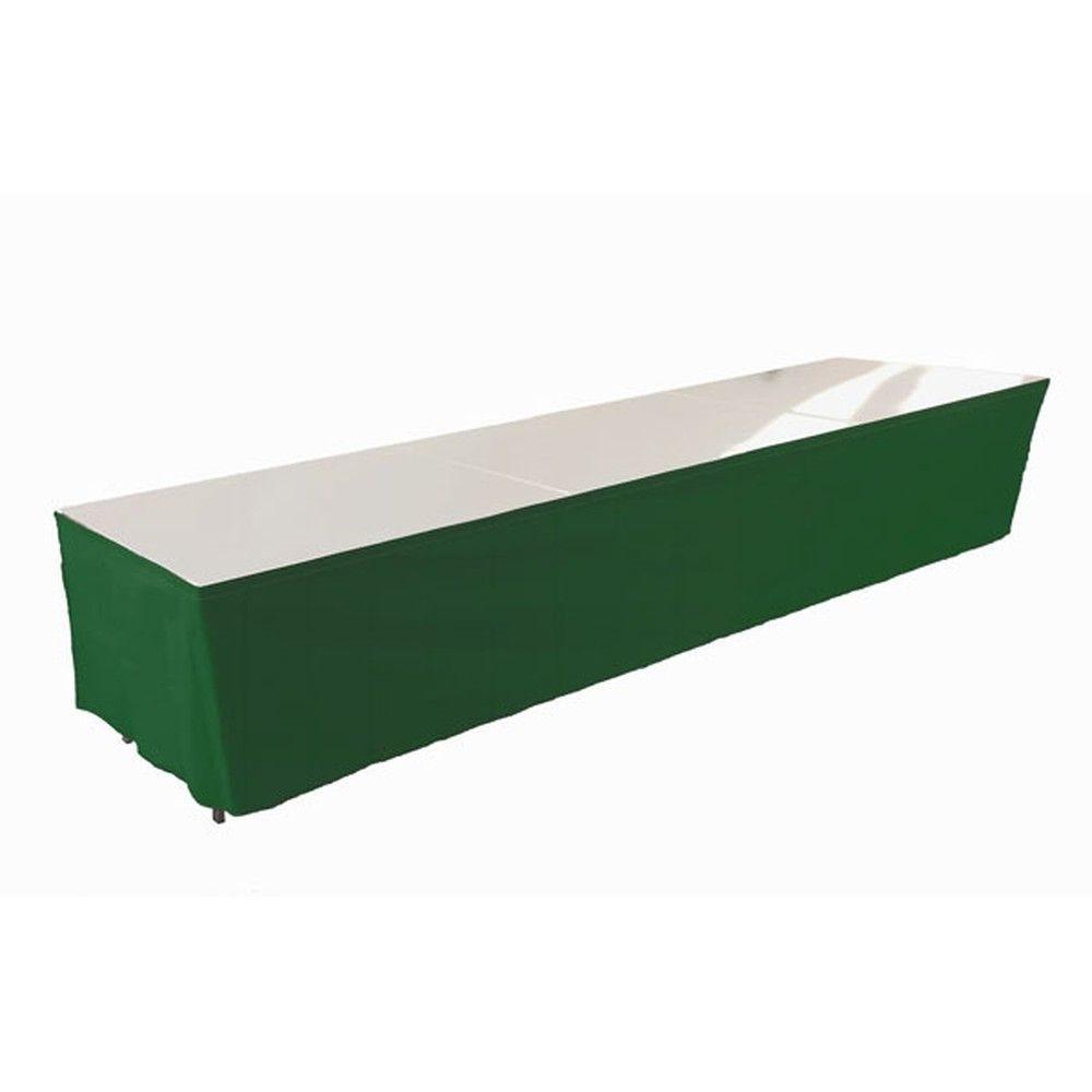 Tables en aluminium 450x85cm. + habillage vert