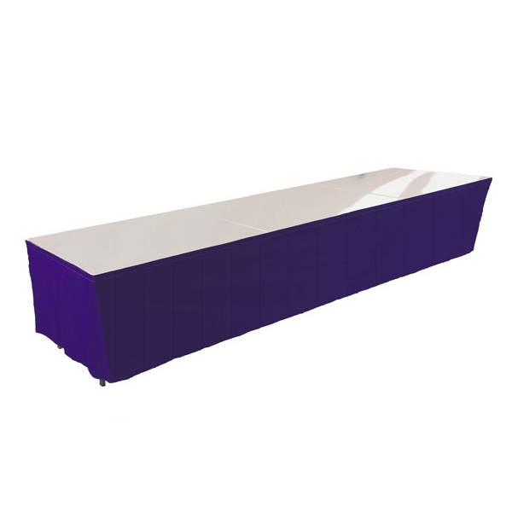 Tables en aluminium 450x85cm. + habillage bleu