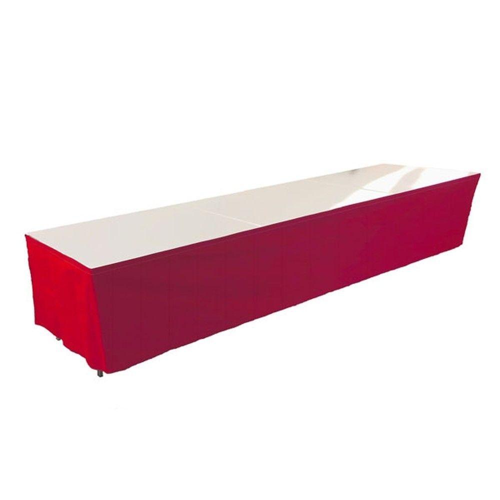 Tables en aluminium 450x85cm. + habillage rouge