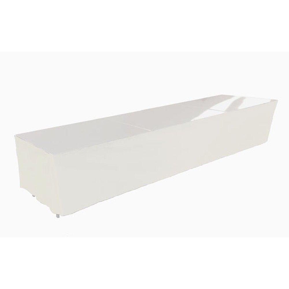 Tables en aluminium 450x85cm. + habillage blanc