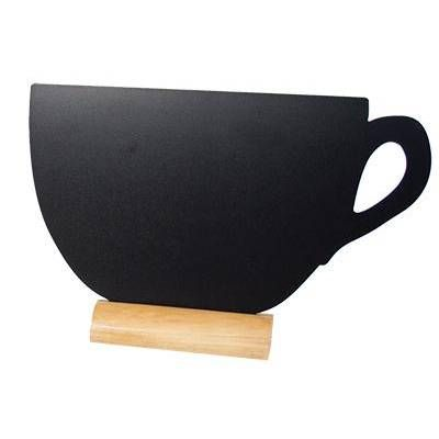 Silhouette de table ardoise 3 x mini tasse + 1 feutre craie - par 2 (photo)