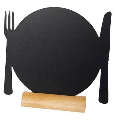 Silhouette de table ardoise 3 x mini assiette + 1 feutre craie - par 2 (photo)