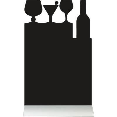 Silhouette de table ardoise base aluminium Cocktail + 1 feutre craie blanc (photo)