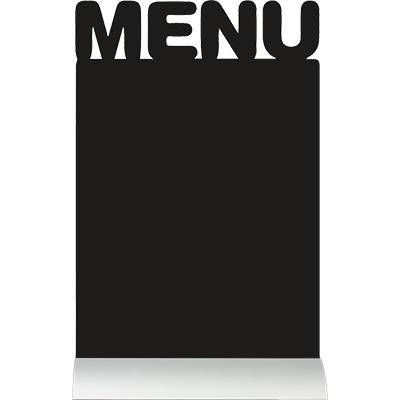 Silhouette de table ardoise base aluminium Menu + 1 feutre craie blanc (photo)