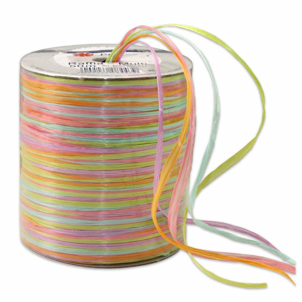 Bolduc raphia multicolore 5 couleurs - 50 m - bobine n°1 (photo)