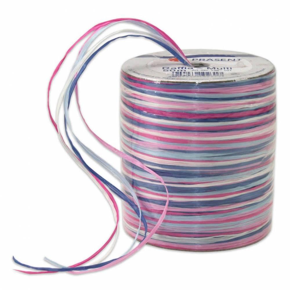 Bolduc raphia multicolore 5 couleurs - 50 m - bobine n°5 (photo)