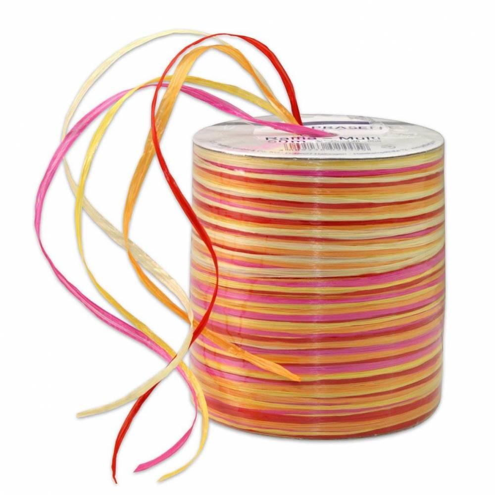 Bolduc raphia multicolore 5 couleurs - 50 m - bobine n°10 (photo)