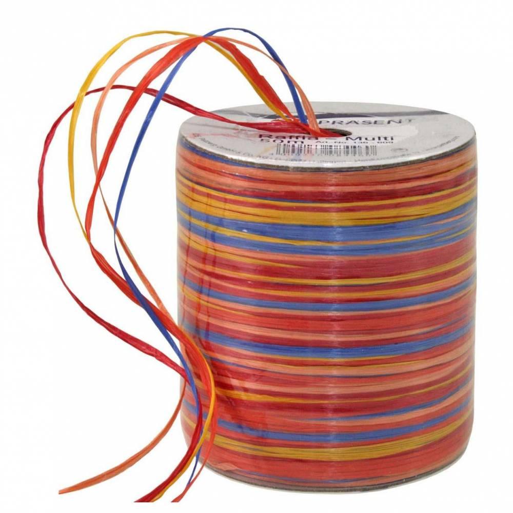 Bolduc raphia multicolore 5 couleurs - 50 m - bobine n°11 (photo)