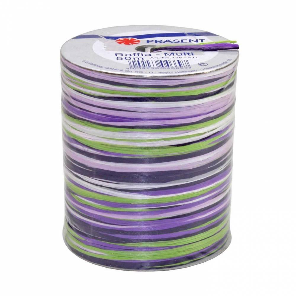 Bolduc raphia multicolore 5 couleurs - 50 m - bobine n°13 (photo)
