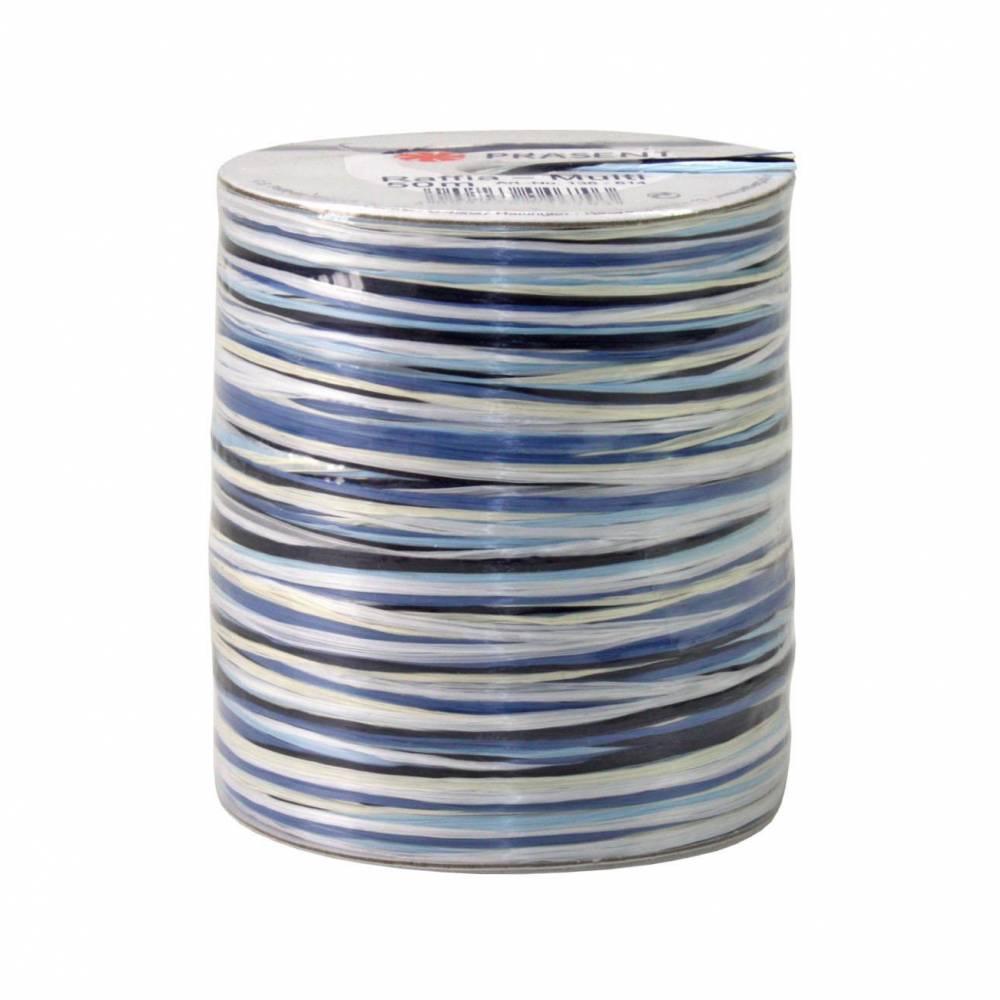 Bolduc raphia multicolore 5 couleurs - 50 m - bobine n°15 (photo)