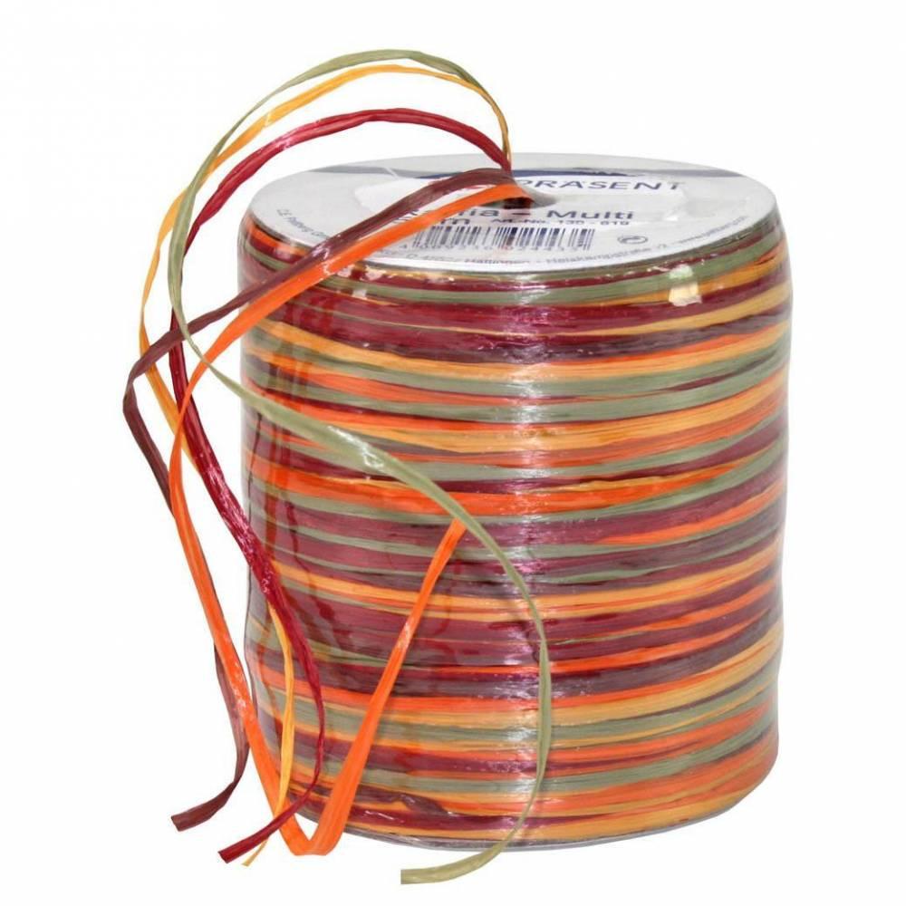 Bolduc raphia multicolore 5 couleurs - 50 m - bobine n°17 (photo)
