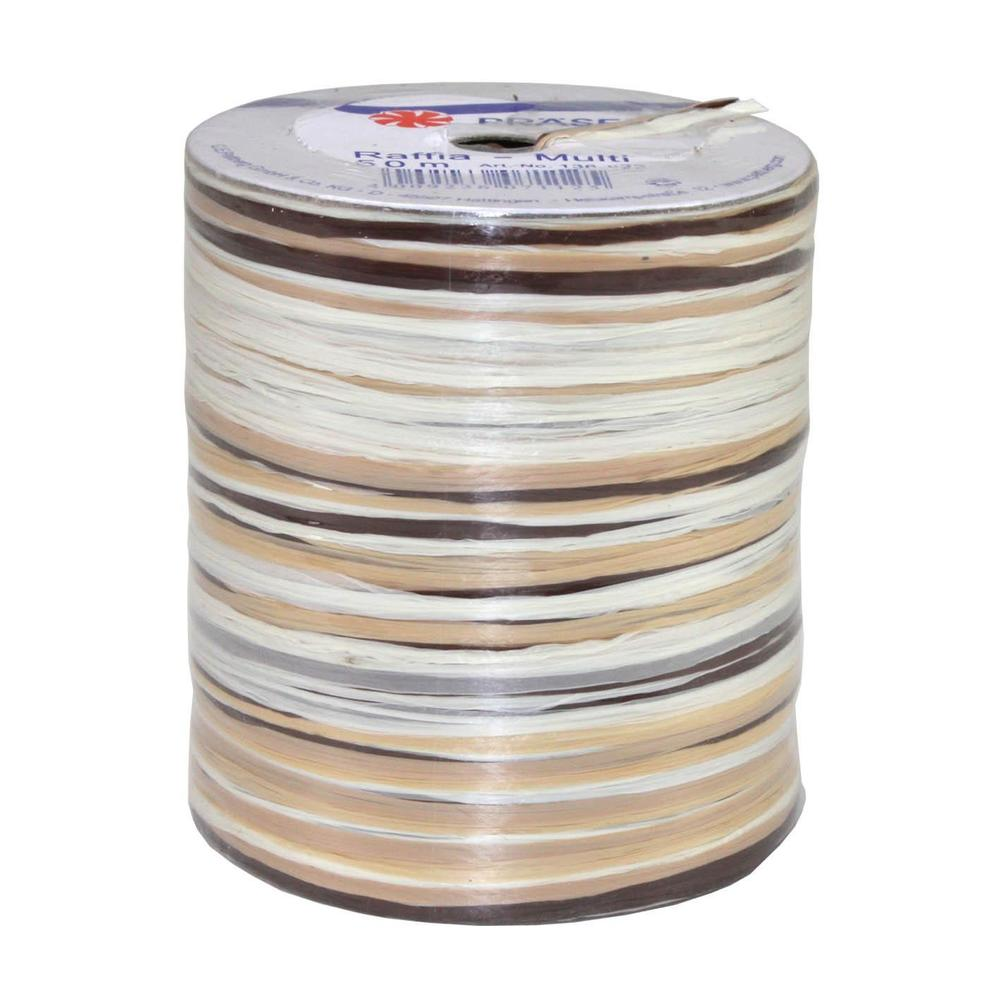 Bolduc raphia multicolore 5 couleurs - 50 m - bobine n°18 (photo)