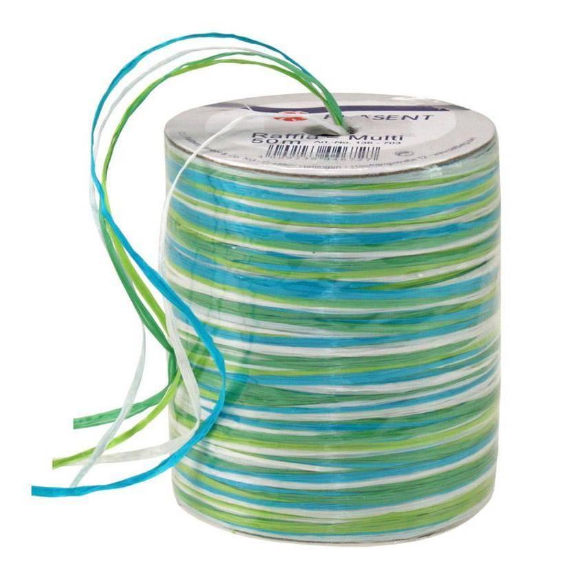 Bolduc raphia multicolore 5 couleurs - 50 m - bobine n°19 (photo)