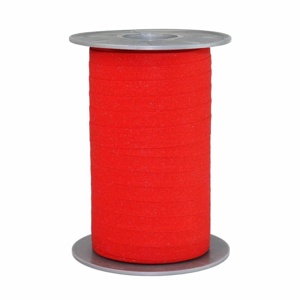 Bolduc pailleté 10 mm x 100 m rouge de sécurité