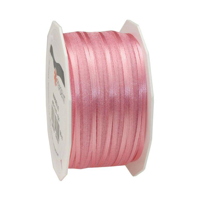 Organdi Organza avec bords satinés 10 mm x 50 m rose clair (photo)