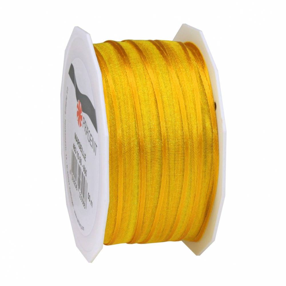 Organdi Organza avec bords satinés 10 mm x 50 m jaune (photo)