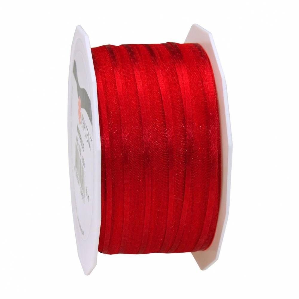 Organdi Organza avec bords satinés 10 mm x 50 m rouge (photo)
