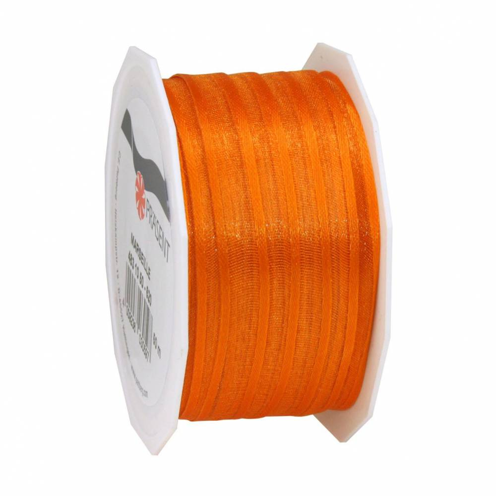 Organdi Organza avec bords satinés 10 mm x 50 m orange (photo)