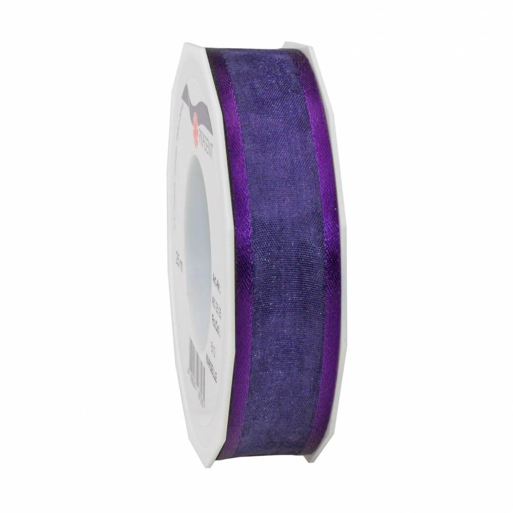Organdi Organza avec bords satinés 25 mm x 25 m violet (photo)