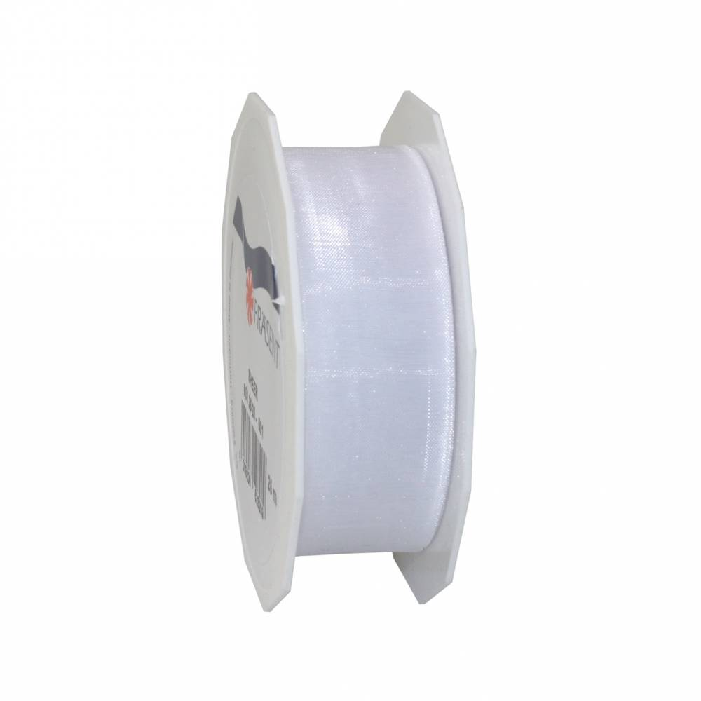 Ruban effet gaze 25 mm x 25 m blanc