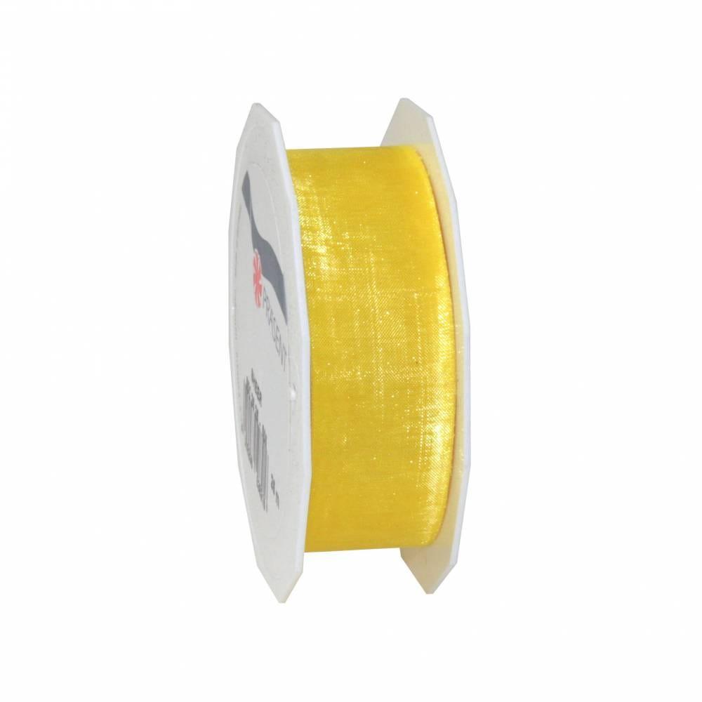 Ruban effet gaze 25 mm x 25 m jaune