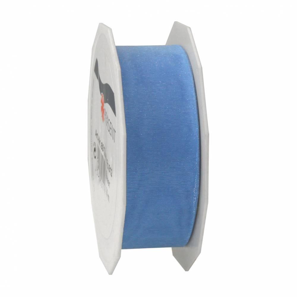 Ruban effet gaze 25 mm x 25 m bleu clair