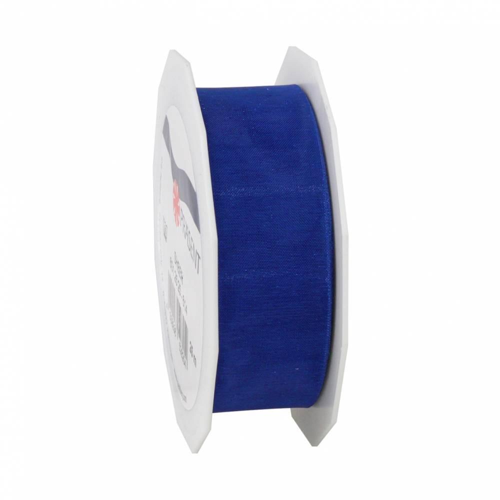 Ruban effet gaze 25 mm x 25 m bleu royal