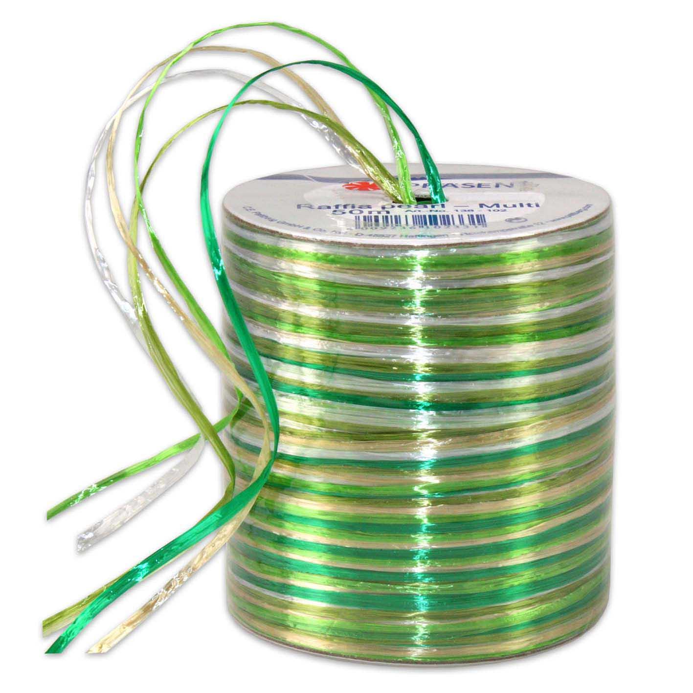 Bolduc raphia multicolore 5 couleurs - 50 m - bobine n°30 (photo)