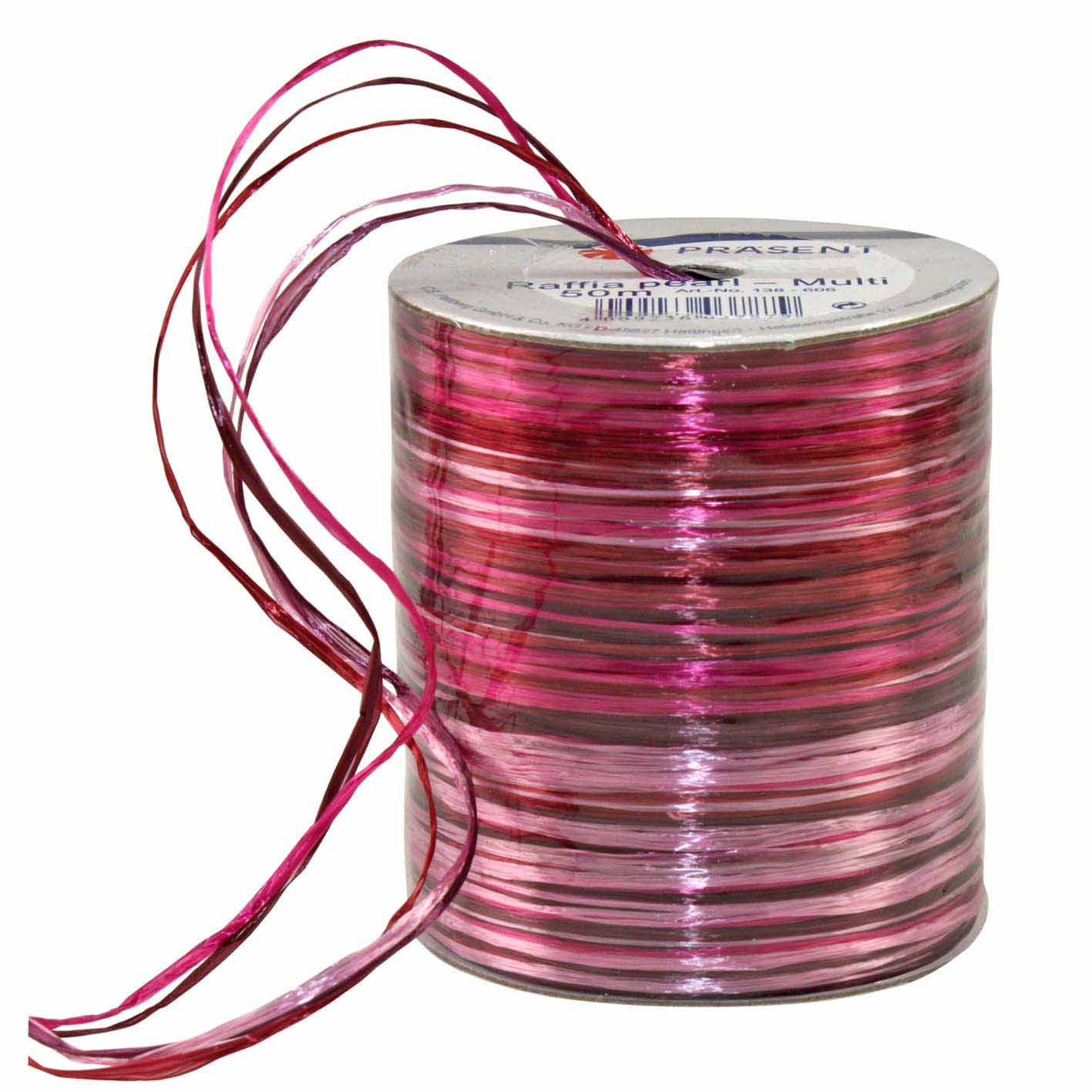 Bolduc raphia multicolore 5 couleurs - 50 m - bobine n°32 (photo)