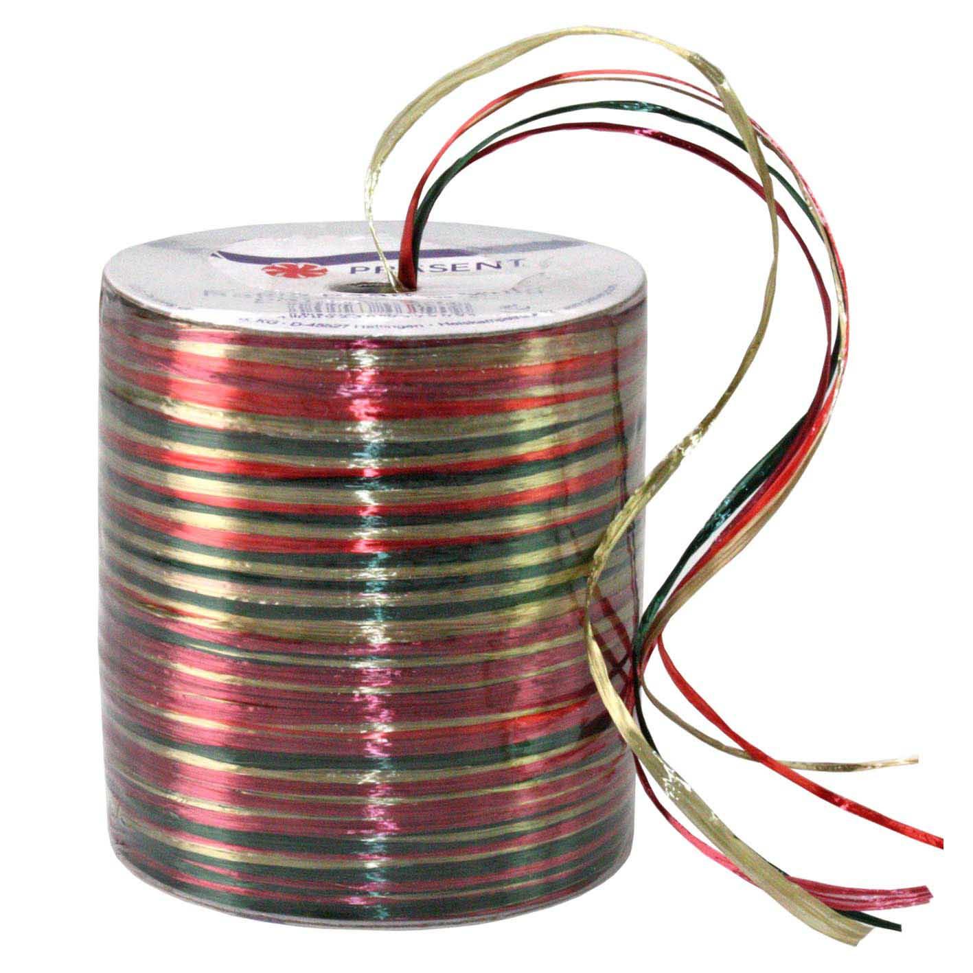Bolduc raphia multicolore 5 couleurs - 50 m - bobine n°40 (photo)
