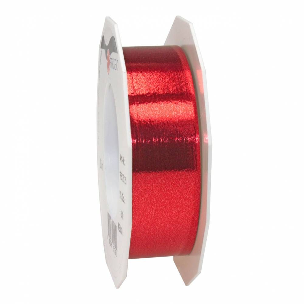Ruban polypropylène brillant 25 mm x 25 m rouge