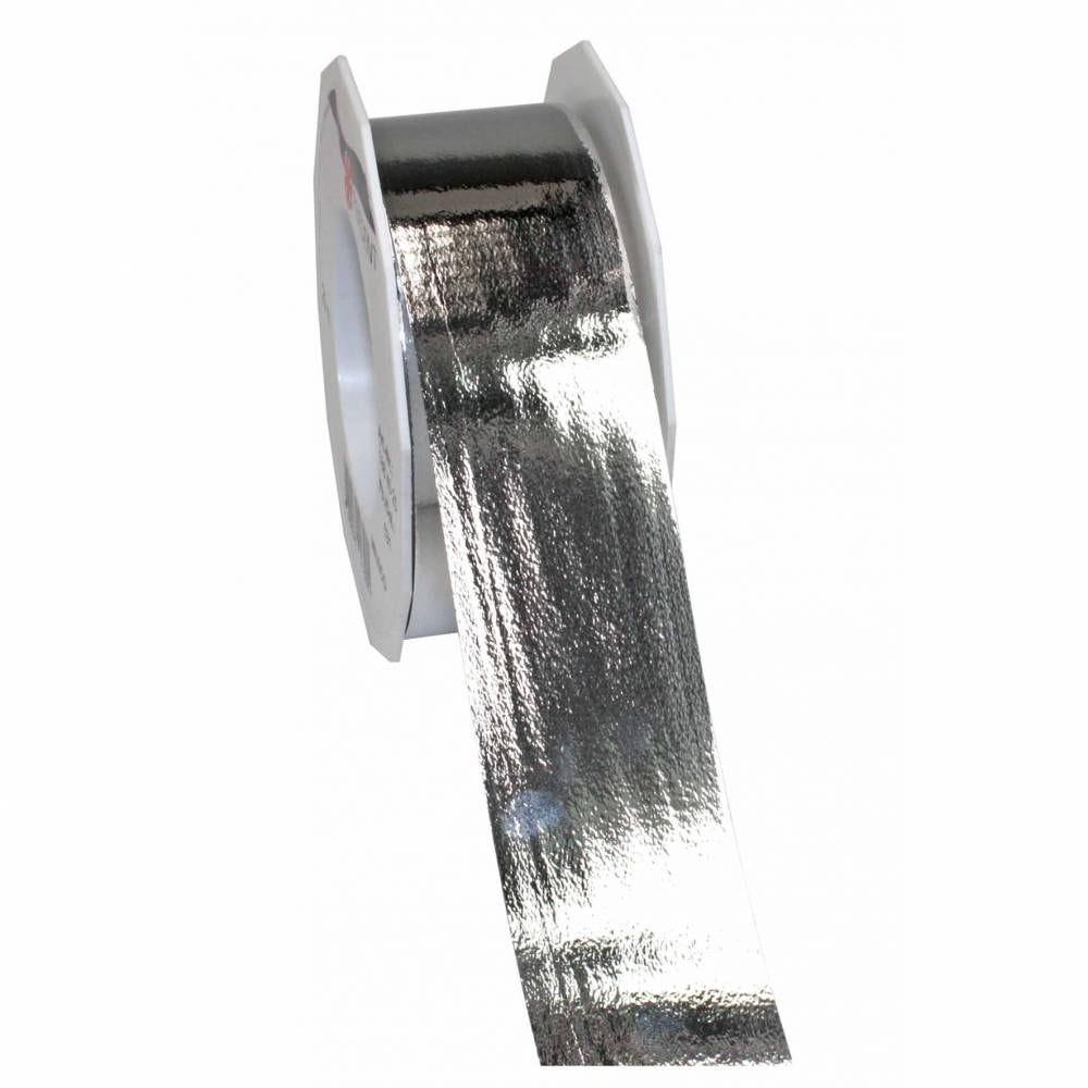 Ruban polypropylène brillant 40 mm x 25 m argent