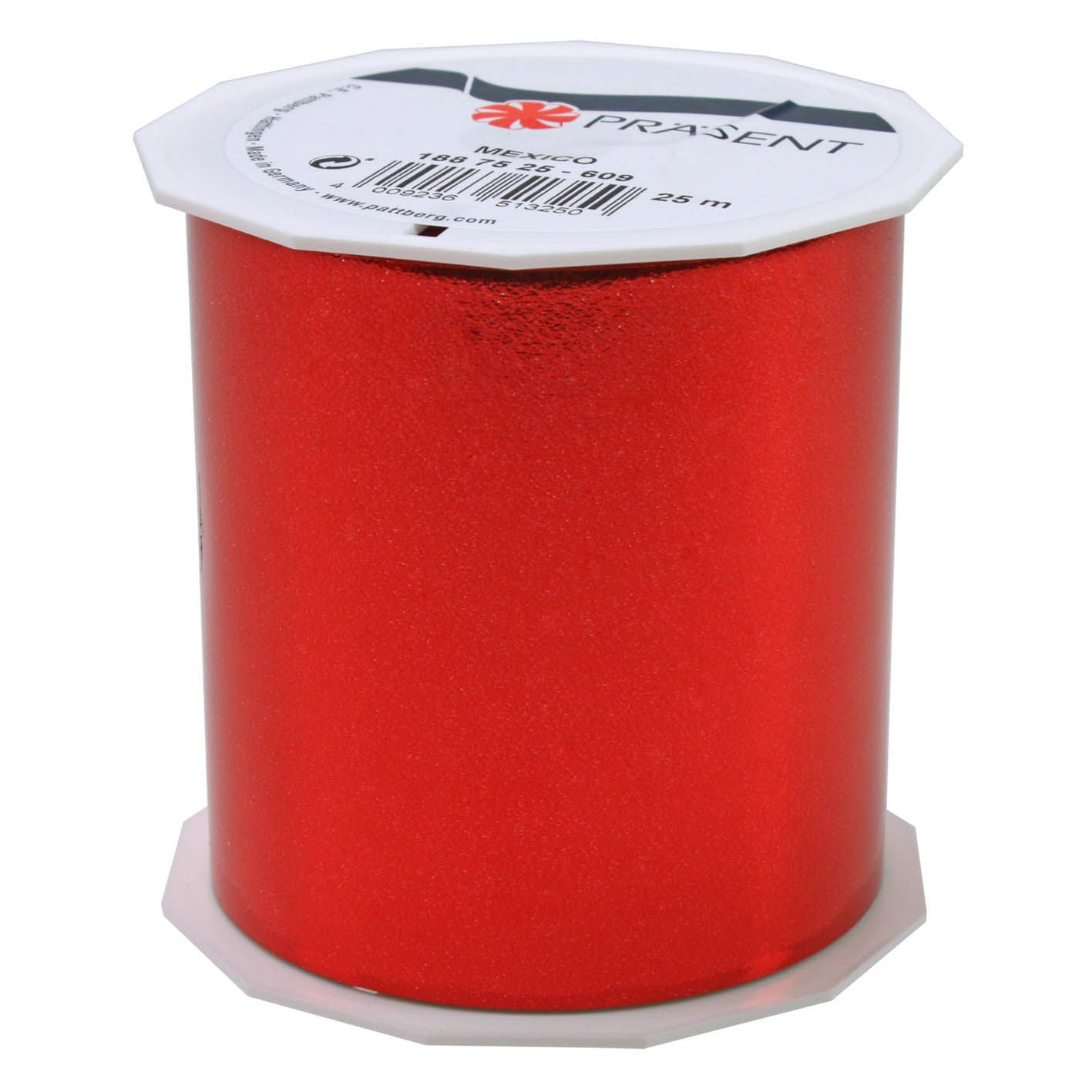Ruban polypropylène brillant 90 mm x 25 m rouge