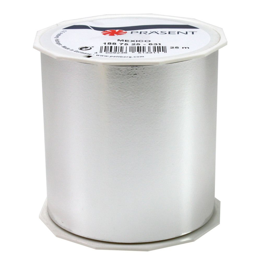 Ruban polypropylène brillant 90 mm x 25 m argent