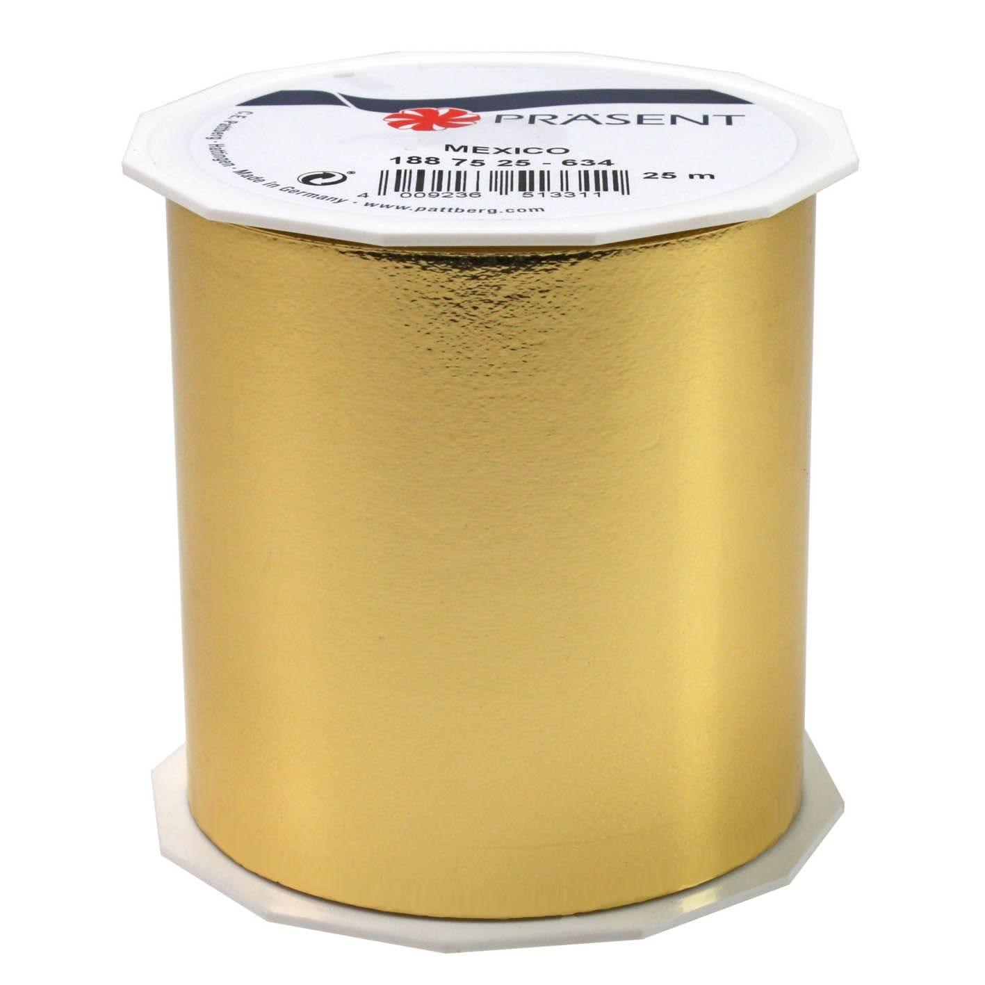 Ruban polypropylène brillant 90 mm x 25 m or