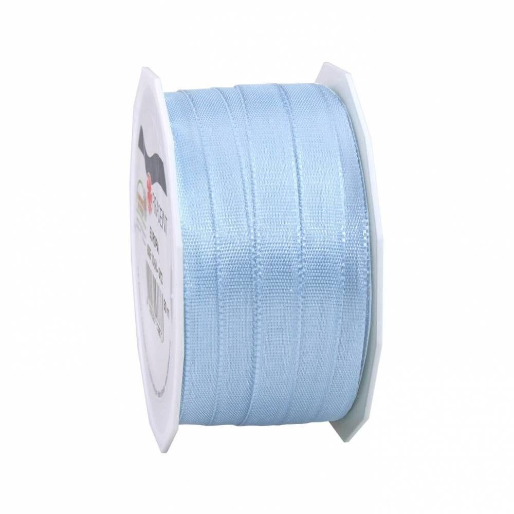 Bolduc avec bords satinés 10 mm x 50 m bleu clair (photo)