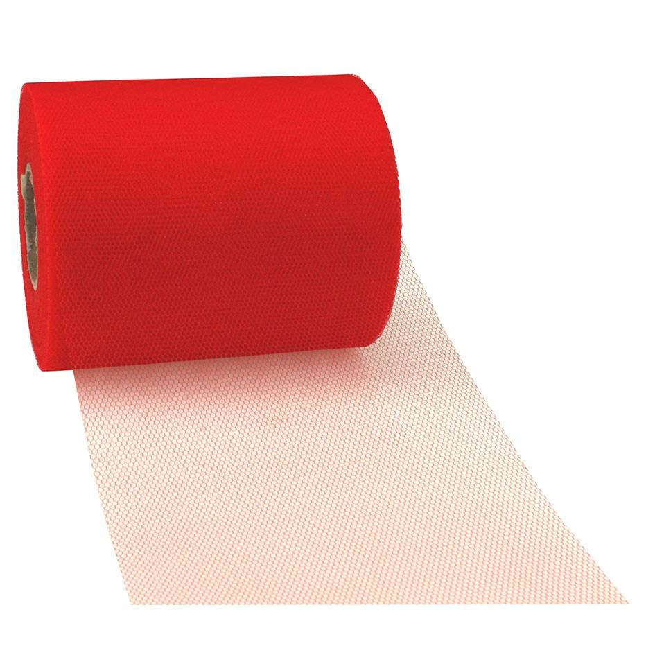 Ruban tulle 112 mm x 50 m rouge