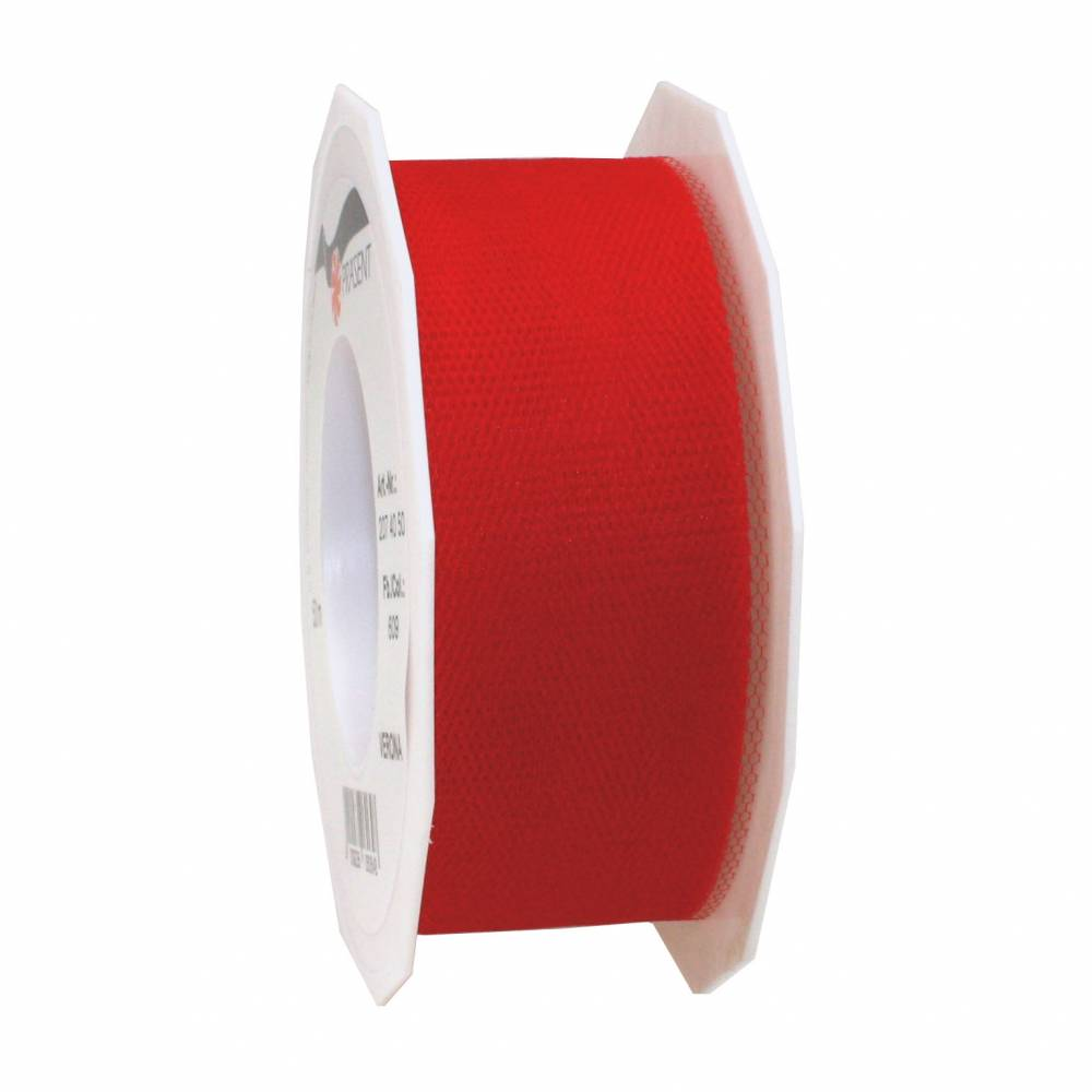 Ruban tulle 40 mm x 50 m rouge