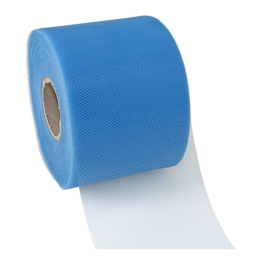 Ruban tulle 72 mm x 50 m bleu clair